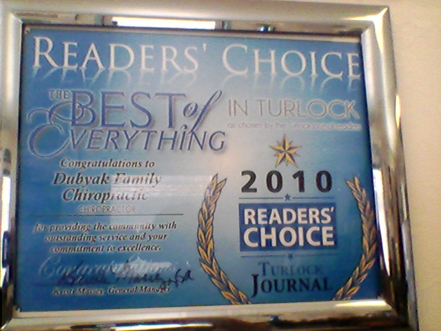 Readers Choice Award, Chiropractic Care in Turlock, CA